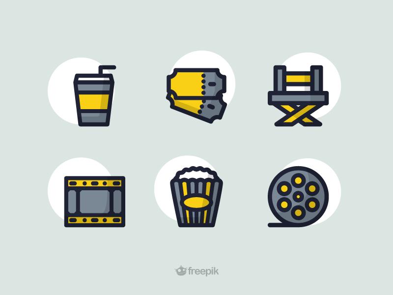 Cinema Icon Set freebies free director ticket illustration movie film coke chair popcorn icons cinema