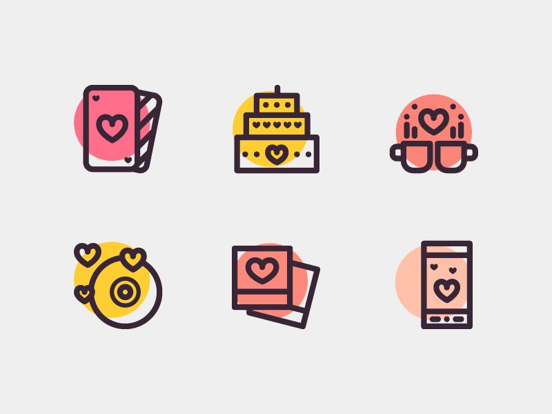 Love & Romance Icons illustrtion icon cake photo phone cards music coffee lover romance valentines day love