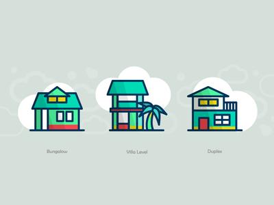 Buildings  apartment store building illustration icons duplex villa level bungalow