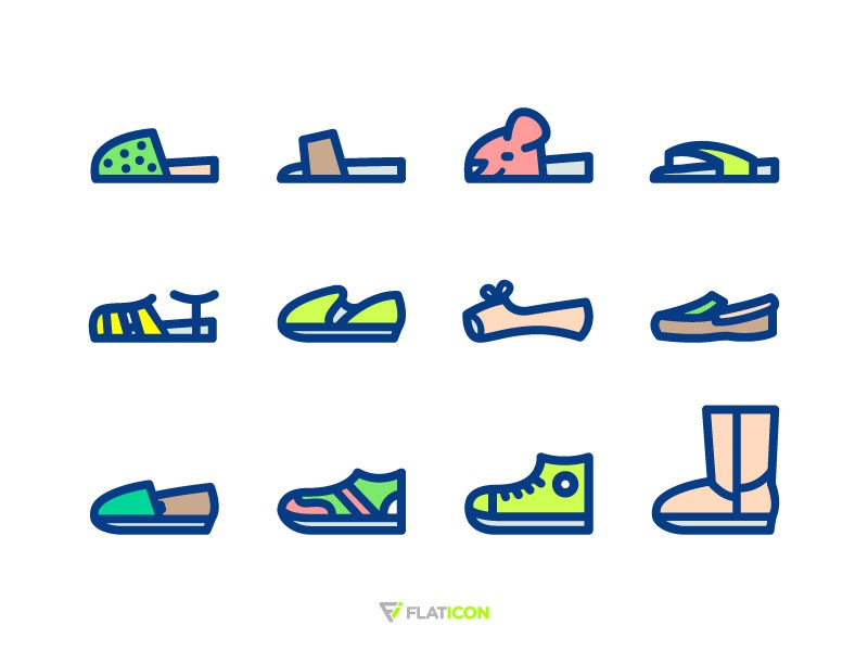 Shoes Icons slipper sandal illustration icon boot freebie flipflop sport snickers shoes