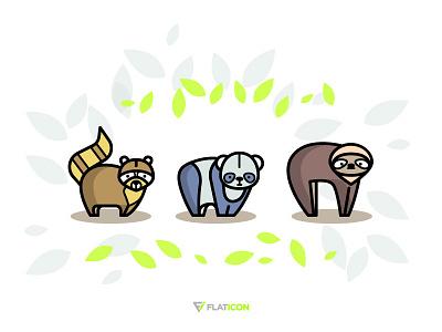 Forest Animals Icons freebie free icons illustration icon bear jungle forest raccoon sloth panda animal