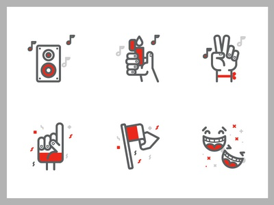 Vodafone Icons flag concert teather hand light peace speaker music sports football icons vodafone