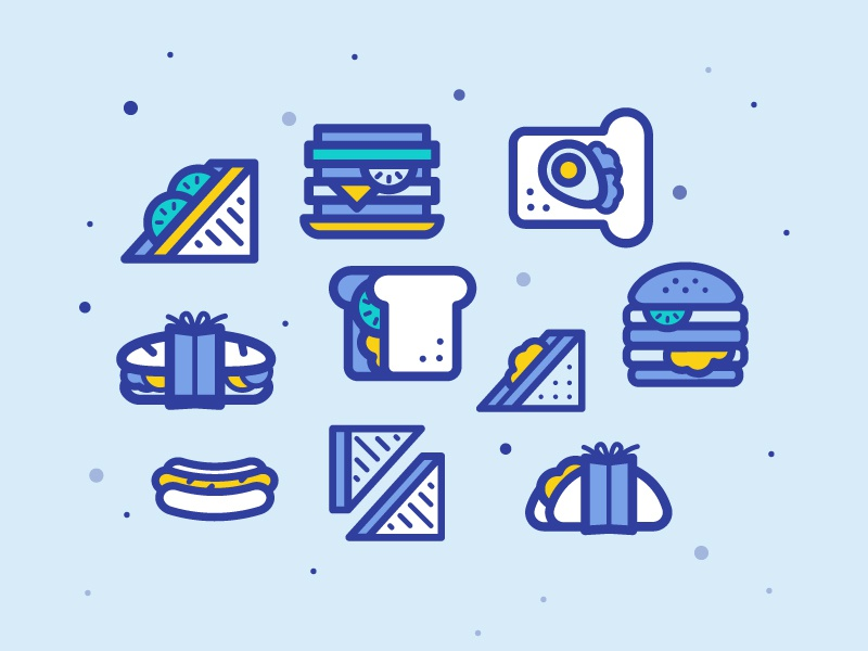 Sandwiches Icons icons bakery fastfood bread toast illustration icon sandwich food