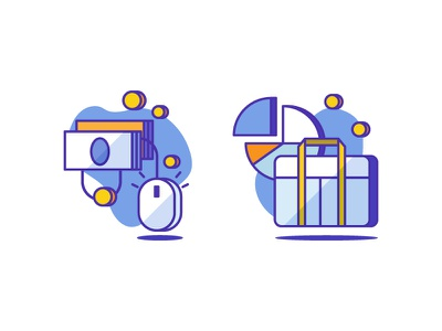 Pay per click & Business Icons illustration icon money coin chart business click pay