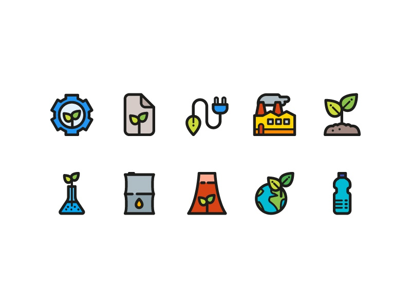 Ecology Icons energy power earth water illustration icons icondesign icon nature ecology eco