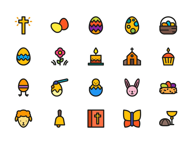 Easter Icons illustration icons icon spring bunny egg rabbit easter