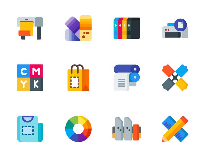 Print Icons icondesign icon printer color tshirt design printing print