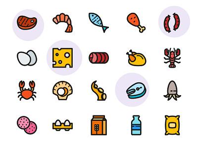 Raw Foods Icons restuarant cheese icon design icons milk hotdog fish food icon