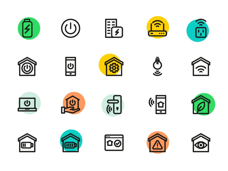smart home icons by sooodesign dribbble. Black Bedroom Furniture Sets. Home Design Ideas