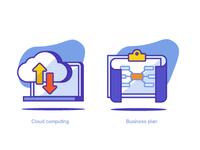 Cloud Computing & Business Plan Icons