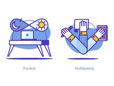 Productivity Icons illustration desk routine multitask task productivity icon