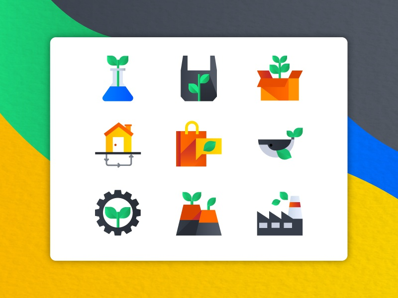Ecology Icons green factory bio icon ecology