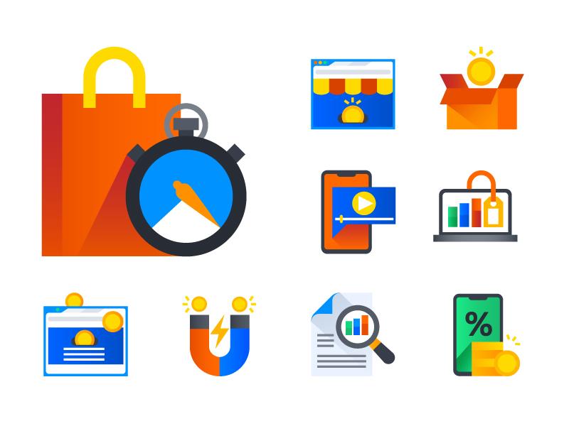 Marketing Icons coin market shop mobile shopping marketing illustration icon icondesign icons icon design