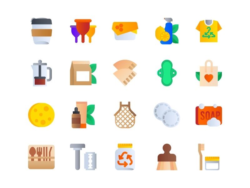 Zero Waste Icons friendly ecommerce product meshbag cleaner paper wax mug coffee zero waste zero icon icondesign illustration icon design icons
