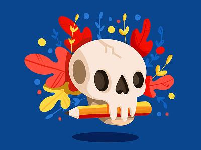 Skull Illustration procreateapp procreate pencil plants illustraion skull