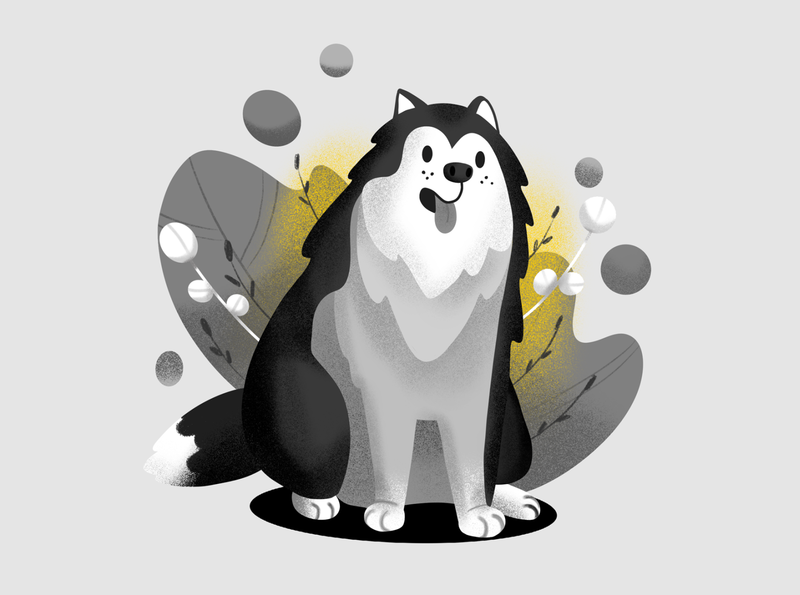 Inktober Day 6: Husky puppy inktober2019 dog husky inktober procreate illustration