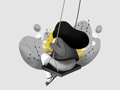 Inktober Day 9: Swing inktober2019 inktober swinging swing procreate illustration