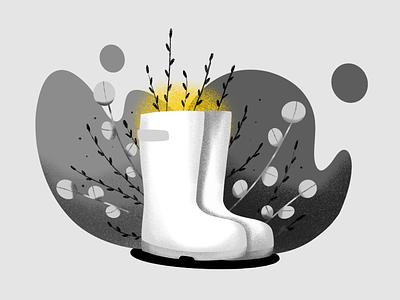 Inktober Day 20: Tread tread autumn plant rain boot procreate illustration
