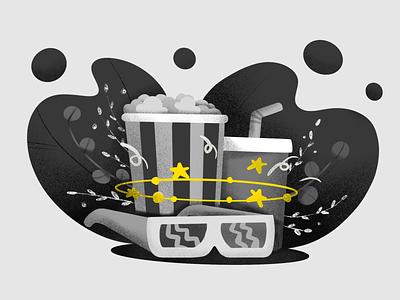 Inktober Day 24: Dizzy dizzy coke popcorn cinema 3d illustration