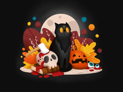 Halloween kitten publication book pumpkin skull creepy halloween procreate illustration