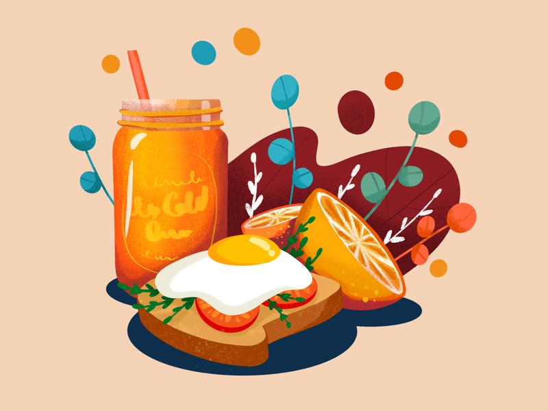Breakfast Illustration veggies juice orange toast egg procreate illustration
