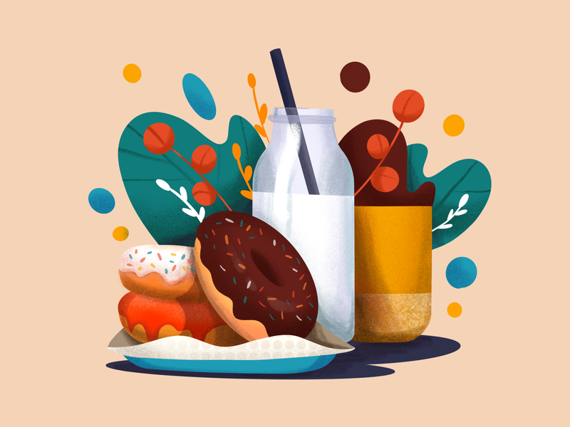 Donuts Illustration food coffee breakfast milk illustration donut doughnut