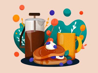 Coffee & Pancake illustration berries food procreate breakfast honey cream coffee shop pancake coffee