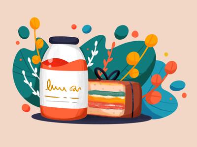 Sandwich food lunch breakfast drink procreate illustration juice sandwich
