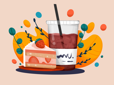 Coffee & Cake strawberry cakes drink coffee shop icecoffee slice cake coffee procreate illustration