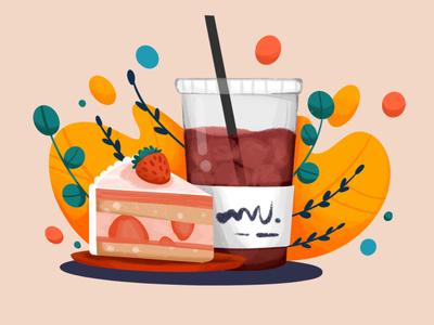 Coffee & Cake strawberry cakes drink coffee shop icecoffee slice cake coffee procreate illustration