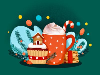 Christmas Cupcake gingerbread cupcake mug christmas coffee illustration