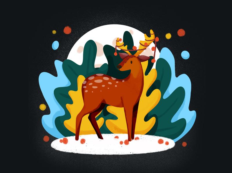 Merry Christmas! ornament christmas tree christmastree reindeer deer christmas procreate illustration