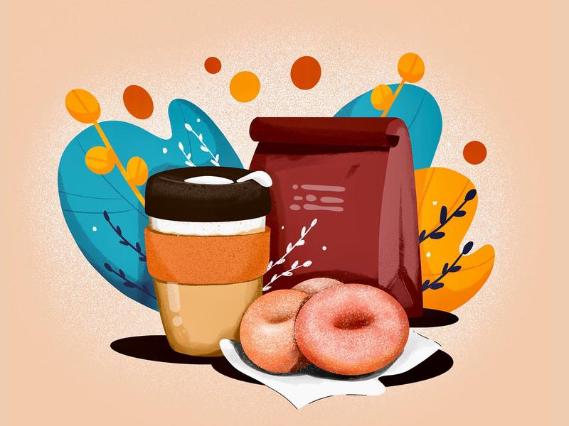 Donuts & Coffee illustration plant procreate doughnut illustration coffee keepcup