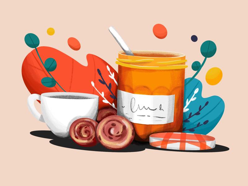 Jam & Cookies illustration coffee cookies breakfast jam procreate illustration