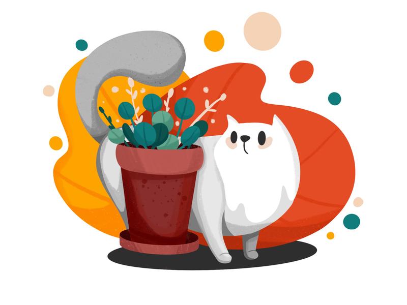 Cat Illustraton cartoon pet animals kitten plant cat procreate illustration