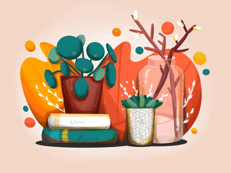Plant Illustration desk books plant digitalpaint ipad illustration procreate