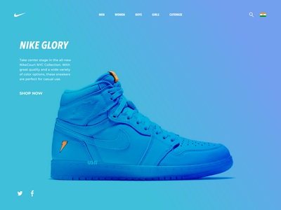 Nike Glory web ux design