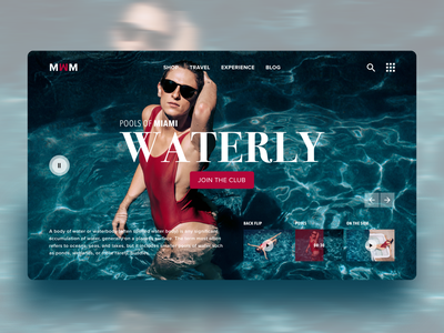 SUMMER POOL CLUB_WATERLY website design ux web layers typography two colors summer pool