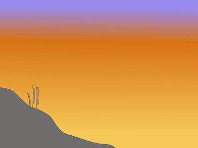Tibetan prayer flags during sunset illustration design