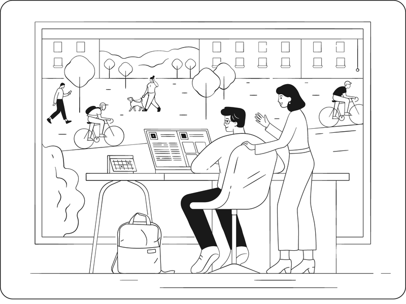 Office life line lineart bike citylife city workflow employees office vector flat illustrator illustration