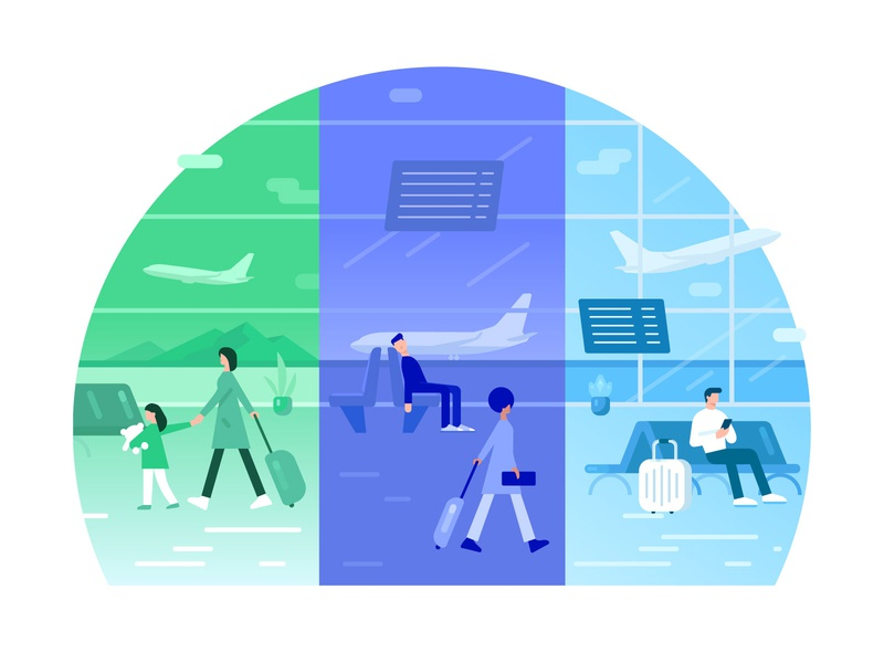 Choose an airport of departure ui design vector flight plane travel people departure airports airport dribbblers dribbble flat illustrator illustration
