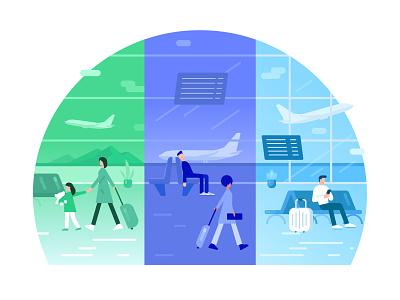 Choose an airport of departure ui design vector flight plane travel people departure airports airport dribbblers dribbble flat illustrator illustration