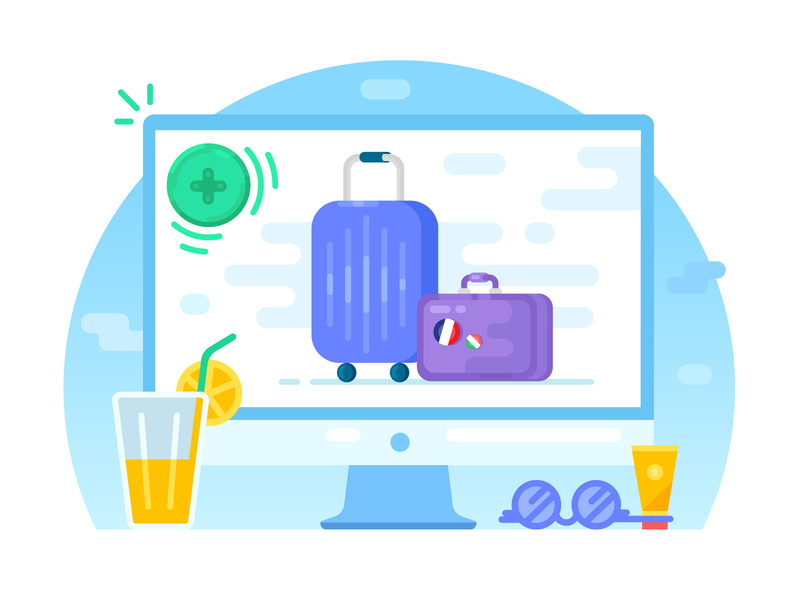 Choose extras coctail computer cream sunglasses glasses add travel trip flight suitcase goods luggage baggage vector flat blue illustrator illustration