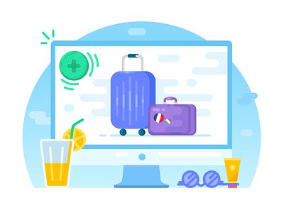 Choose extras coctail computer cream sunglasses glasses add travel trip flight suitcase goods luggage baggage vector flat blue illustrator illustration