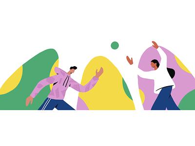 playing character branding ui ball game people procreate ipad illustrations flat illustration