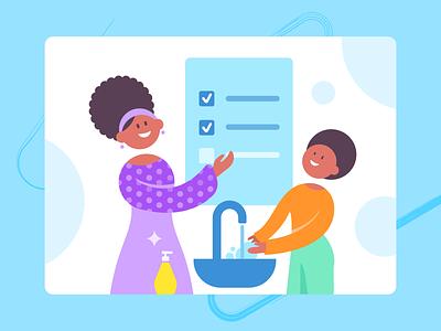SuperMom_hand washing mom children microbes rules handwash african woman african blue illustrations ui flat illustrator illustration