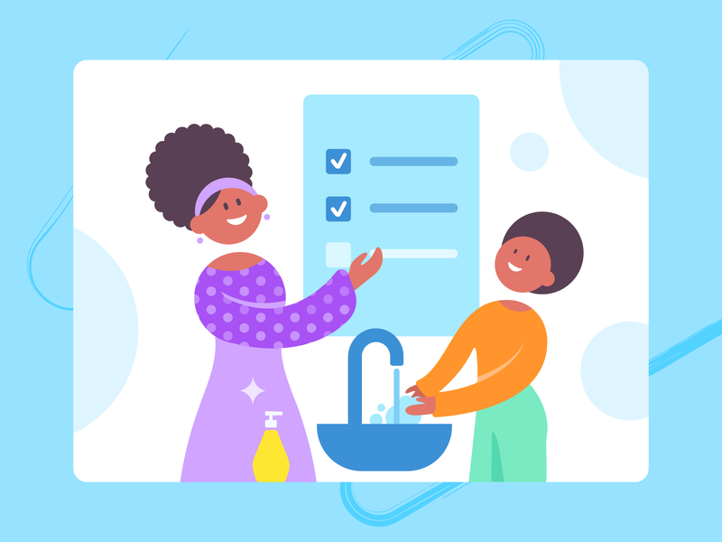 SuperMom_hand washing mom children microbes rules handwash african woman african blue illustrations ui flat illustrator illustration