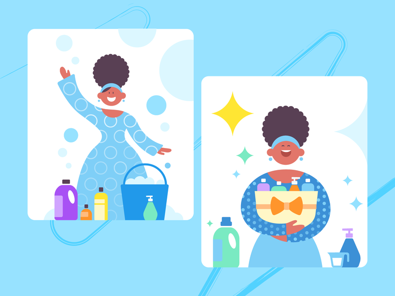 SuperMom_hygiene products design purity illustrations ui african woman flat vector hygiene illustration