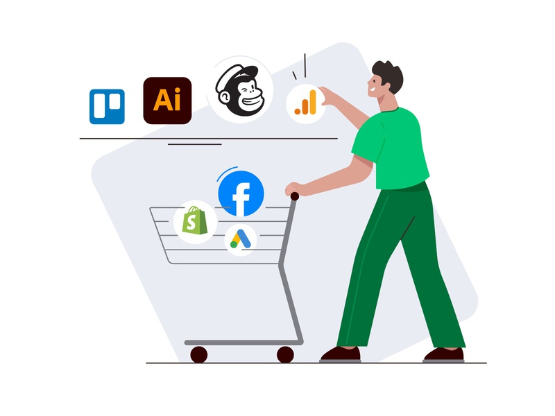 Access the skills you need trello shopping shop buying google ads shopping basket shopping cart google analytics spotify facebook flat vector illustration