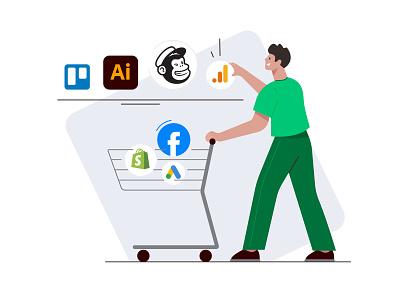 Access the skills you need trello shopping shop buying google ads shopping basket shopping cart google analytics spotify facebook flat vector illustration